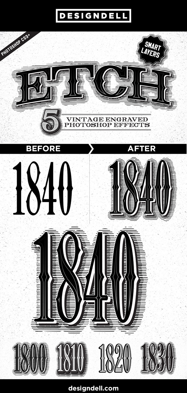 Etch vintage engraved Photoshop effects - download at www.designdell.com #typography #photoshop