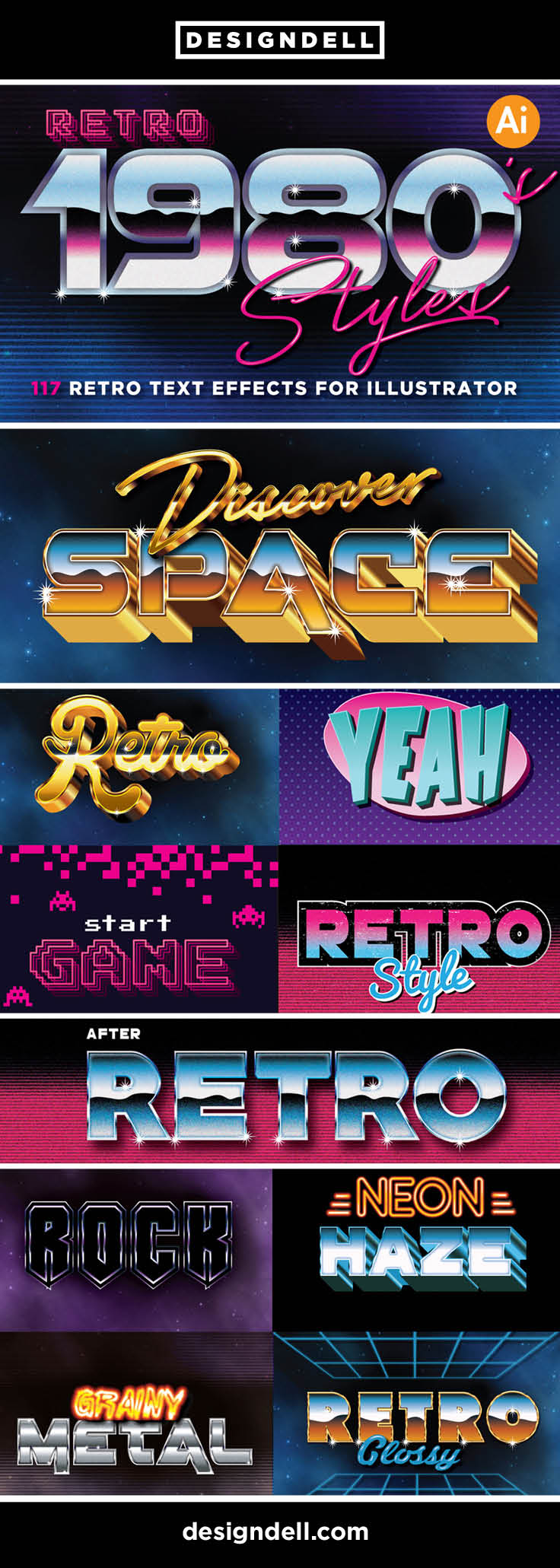 80s Retro Illustrator Text Effects