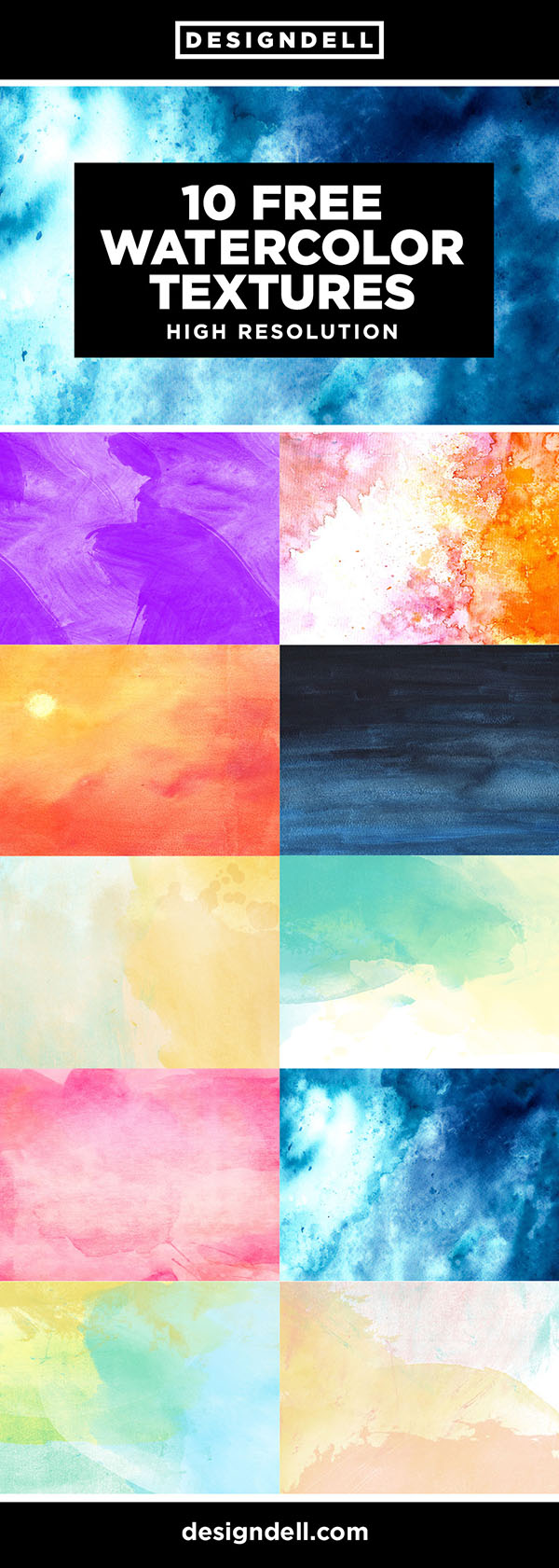 10 FREE Watercolor Textures - Download here!