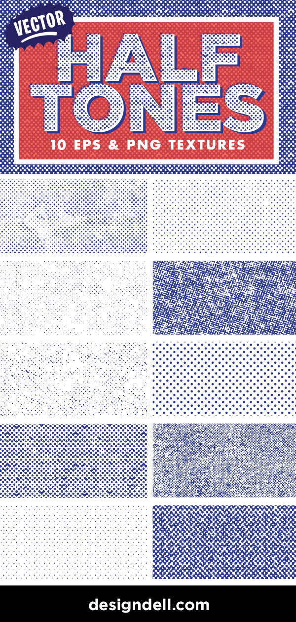 FREE Halftone Textures Download - EPS and PNG gritty, vintage halftones!