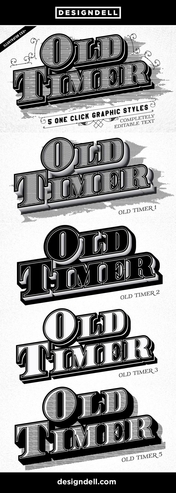 Old Timer Vintage Illustrator Text Effects #Typography #Victorian