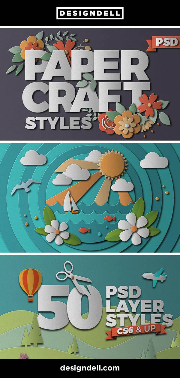 PaperCraft - Paper Cut Photoshop Effects. Download at www.designdell.com #designresources