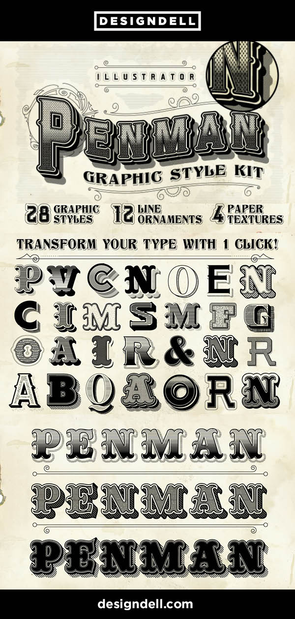 Penman Vintage Graphic Style Kit - Victorian Text Effects For Adobe Illustrator. Download Now! #typography #Victorian