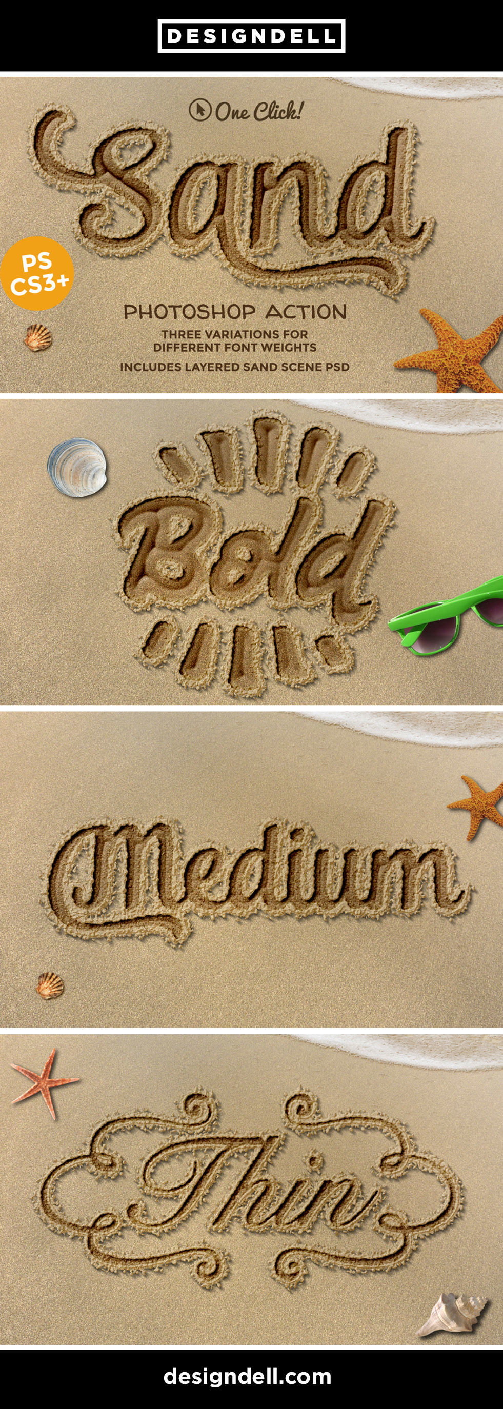Sand Photoshop Text Effect - Write in the sand with this PSD Action