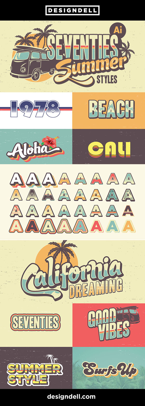 Seventies Summer Text Effects for Illustrator