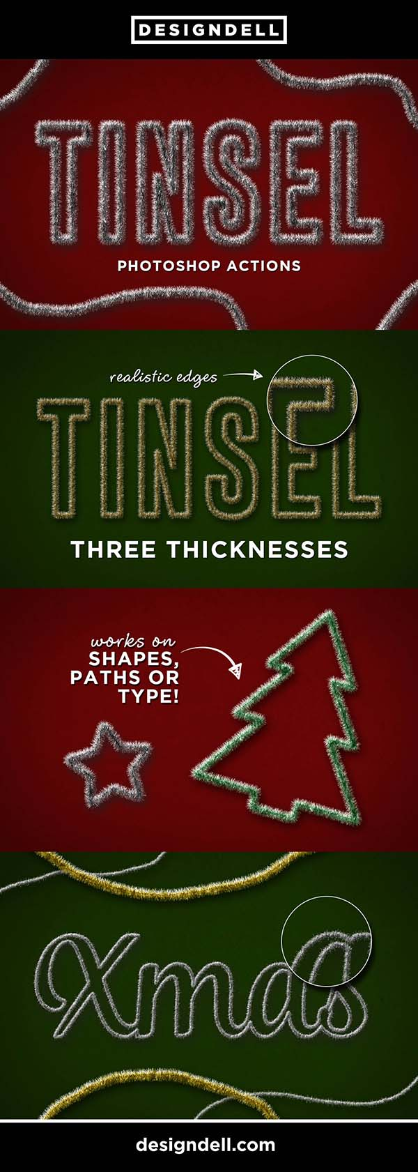 Tinsel Photoshop Effects - turn your text or shapes into festive tinsel Christmas decorations